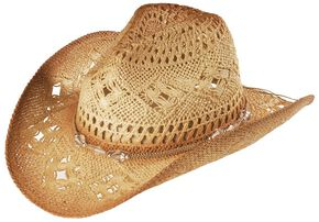 Bead Embellished Straw Cowboy Hat, Tea, hi-res