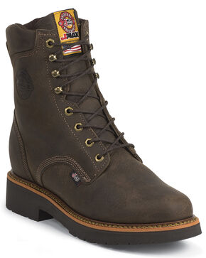 "Justin J-Max 8"" Work Boots - Steel Toe, Chocolate, hi-res"