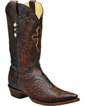 Corral Men's Brown Wing and Cross Boots - Snip Toe , Brown, hi-res