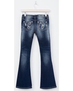 Miss Me Girls' Indigo (7-16) Distressed Floral Jeans - Boot Cut , Indigo, hi-res