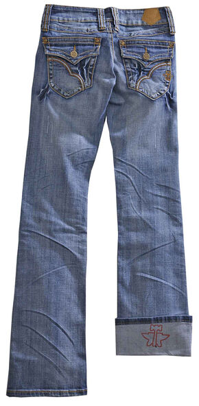 Tin Haul Women's Dolly Celebrity Gold Wave Stitch Bootcut Jeans, Denim, hi-res