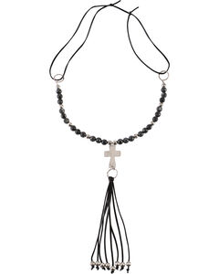 Jewelry Junkie Black Labradorite Beaded Necklace with Long Leather Fringe, , hi-res