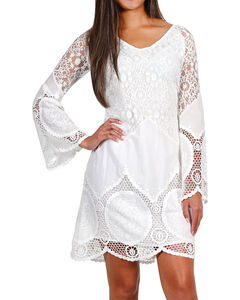 Mystree Women's Crochet Lace Long Sleeve Dress, White, hi-res