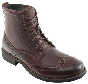 Eastland Men's Dark Walnut Bennett Wing Tip Boots, Brown, hi-res