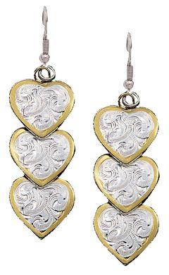 Montana Silversmiths Three Heart Dangle Earrings, , hi-res