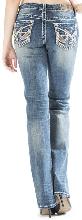 Grace in LA Women's Medium Wash Abstract Easy Fit Bootcut Jeans , Indigo, hi-res