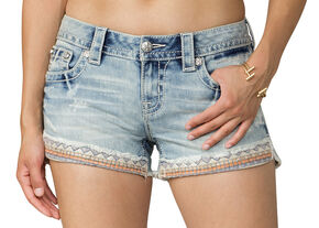 Miss Me Women's Light Indigo Taping on Front Shorts , Indigo, hi-res