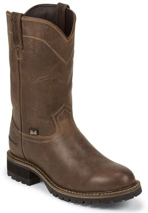 "Justin Work II 10"" Waterproof Pull-On Work Boots - Round Toe, Tan, hi-res"