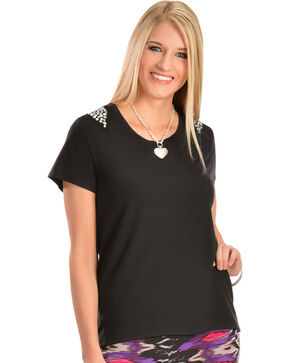Wrangler Rock 47 Studded Black Top, Black, hi-res