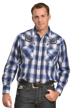 Ely Cattleman Men's Navy Plaid Embroidered Western Shirt, , hi-res