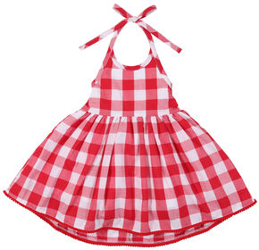 Wrangler Infant Girls' Red Check Pom Pom Trim Dress, Red, hi-res