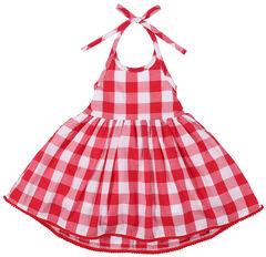 Wrangler Toddler Girls' Red Check Pom Pom Trim Dress, , hi-res