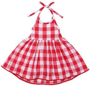 Wrangler Toddler Girls' Red Check Pom Pom Trim Dress, Red, hi-res