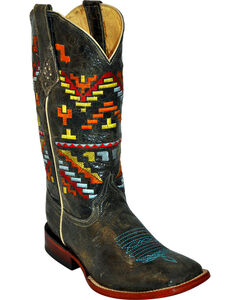 Ferrini Aztec Pattern Cowgirl Boots - Square Toe, , hi-res