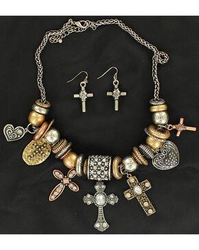 Blazin Roxx Multi Charm Beaded Necklace & Earrings Set, Multi, hi-res
