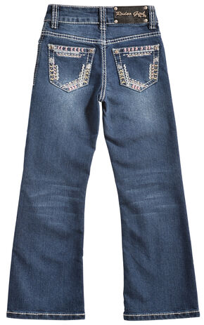 Rodeo Girl Girls' Stitch Pocket Dark Wash Jeans, Indigo, hi-res