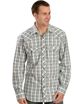Red Ranch Green, White and Grey Plaid Long Sleeve Shirt, White, hi-res