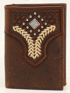 Nocona Lacing Diamond Concho Tri-Fold Wallet, , hi-res