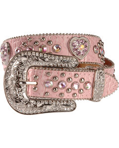 Nocona Pink Heart Concho Belt - 18-28, Pink, hi-res