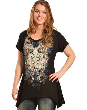Liberty Wear Women's Black Fleur-de-Lis Mini Sharktail Shirt, Black, hi-res