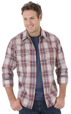 Wrangler Retro Men's Blue and Rust Plaid Western Shirt , , hi-res