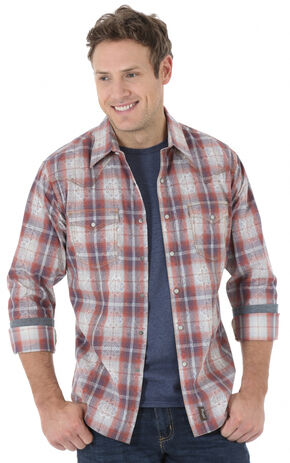 Wrangler Retro Men's Blue and Rust Plaid Western Shirt , Blue, hi-res