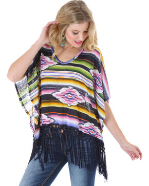 Wrangler Rock 47 Women's Serape Fringe Kimono Top, Black, hi-res