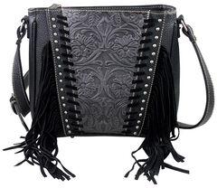 Montana West Trinity Ranch Black Tooled Design Concealed Handgun Collection Messenger Bag, , hi-res
