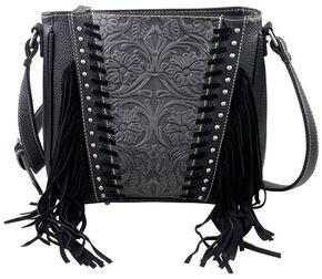 Montana West Trinity Ranch Black Tooled Design Concealed Handgun Collection Messenger Bag, Black, hi-res