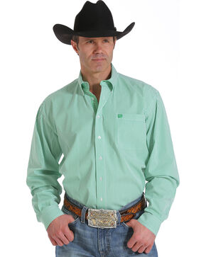 Cinch Men's Light Green Stripe Long Sleeve Shirt, Green, hi-res