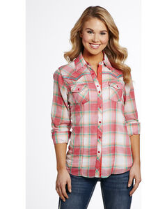 Cowgirl Up Women's Pink Two Pocket Plaid Shirt , , hi-res