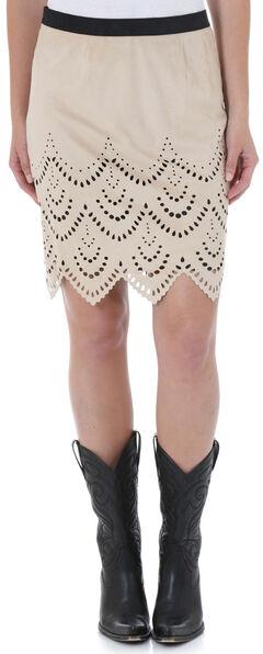Wrangler Women's Short Faux Suede Laser Cut Skirt, , hi-res