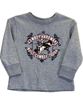 Cowboy Hardware Toddler Boys' Cowboy Tough Long Sleeve Tee (6MO-4T), Grey, hi-res