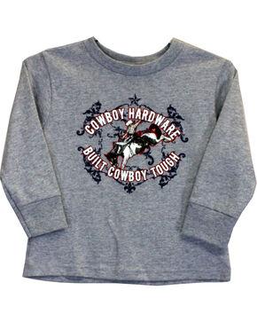 Cowboy Hardware Toddler Boys' Cowboy Tough Long Sleeve Tee (6MO-4T), Grey, hi-res
