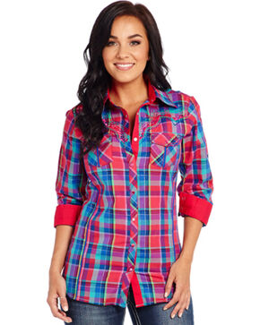 Cowgirl Up Long Sleeve Pink Plaid Western Shirt, Pink Plaid, hi-res