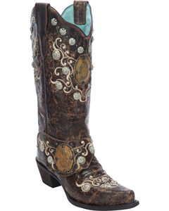 Corral Women's Concho Harness Cowgirl Boots - Snip Toe, , hi-res