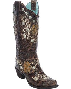 Corral Women's Concho Harness Cowgirl Boots - Snip Toe, Brown, hi-res