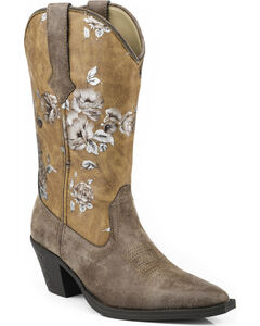 Roper Printed Vintage Floral Faux Leather Cowgirl Boots - Snip Toe, Brown, hi-res