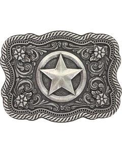 Montana Silversmiths Men's Silver Texas Star Belt Buckle , , hi-res
