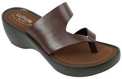 Eastland Women's Dark Brown Laurel Wedge Thong Sandals, , hi-res