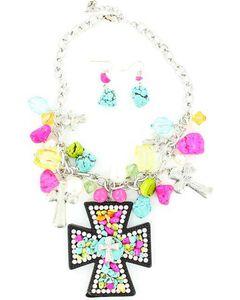 Blazin Roxx Colorful Stone Cross Pendant Necklace & Earrings Set, , hi-res