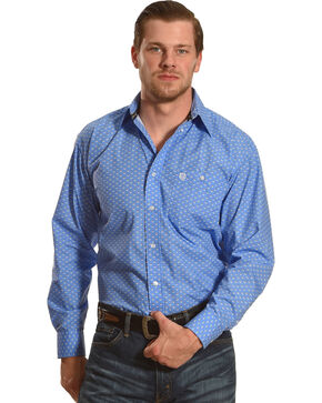 Wrangler George Strait Men's Bluegrass Long Sleeve Button Down Shirt - Big & Tall, Blue, hi-res