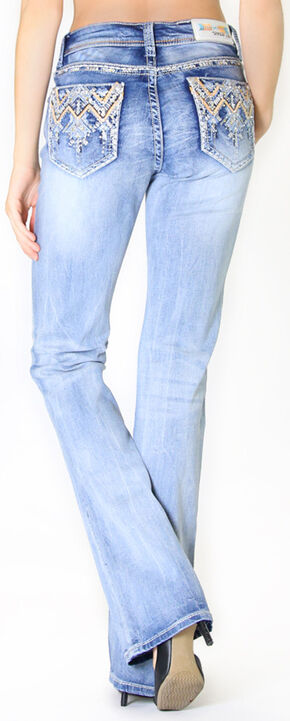 Grace in L.A. Women's Crystal Zig Zag Stitch Bootcut Jeans, Denim, hi-res