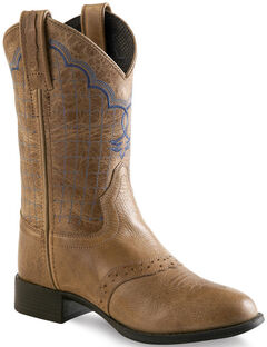 Old West Tan Boys' Western Boots - Round Toe , , hi-res