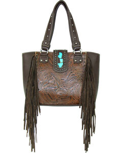 Savana Brown Conceal Carry Fringe Handbag, , hi-res