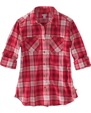 Carhartt Women's Huron Plaid Long Sleeve Shirt, Pink, hi-res
