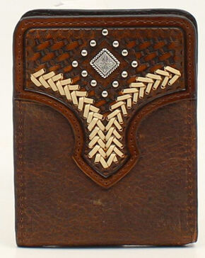 Nocona Lacing Diamond Concho Bi-Fold Money Clip, Med Brown, hi-res