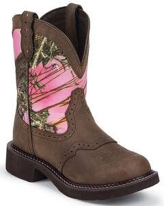 Justin Gypsy Pink Realtree Camo Cowgirl Boots - Round Toe, Aged Bark, hi-res