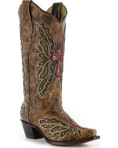 Corral Women's Wing and Cross Inlay Western Boots - Snip Toe, , hi-res