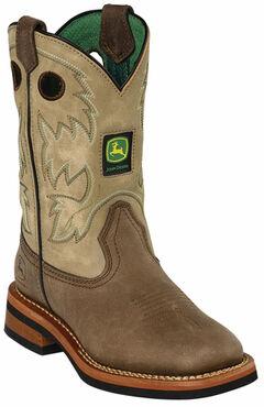 John Deere Boys' Johnny Popper Tan Western Boots - Square Toe, , hi-res